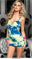 LA-28090 Seamless Asymmetrical Tie Dye Mini Dress