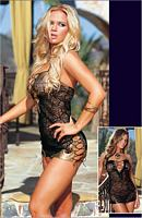 DG-4296 Spider Lace and Faux Snakeskin Sexy Sheer Dress