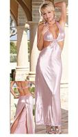 DG-5553 Shimmer Pink Microfiber Sexy Halter Gown