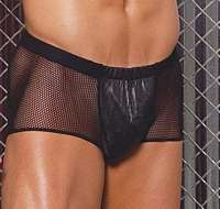 EM-L9131 Leather and Fishnet Shorts